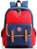 Kids Backpack Children Bookbag Preschool Kindergarten Elementary School Travel Bag for Girls Boys (Red-Blue, Large)