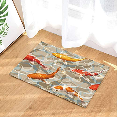 Varicolored Koi Fish Decor Ocean Tropical Fish Swimming in Water Bath Rugs 15.7x23.6 inch Kitchen Bedroom Front Bathroom mat Fittings