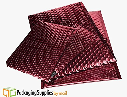 Metallic Glamour Bubble Mailers Padded Shipping Mailing Envelopes Bags Red - 9'' x 11.5'' 200 / Case