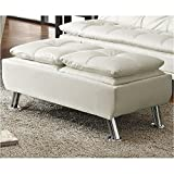 Bowery Hill Contemporary Styled Storage Fabric Ottoman in White Review