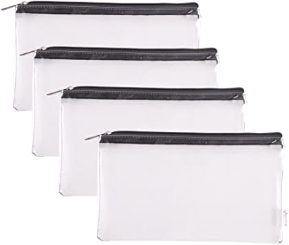 4 BLACK VINYL ZIPPER BANK BAGS MONEY JEWELRY POUCH COIN CURRENCY WALLET COUPONS