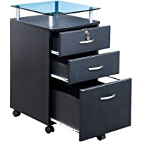 Rolling File Cabinet, Wood Construction, Black Finish, Gray Graphite Palette, 2 Drawers With Locks and 1 Filing Drawer, 5 Casters With Lock Mechanism