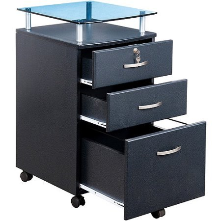 Tempered Glass File Cabinet (Home Office Rolling File Cabinet, Two Accessories Drawers with Lock One Filing Drawer Five Casters with Locking Mechanism Tempered Glass Top Sits on Powder Coated Steel Supports)