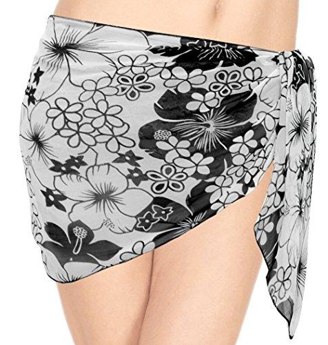 La Leela Chiffon Hibiskus-Blume gedruckt Strand schwimmen Sarong wickeln