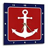 3dRose dpp_165796_2 Red White & Blue Nautical Anchor Design Wall Clock, 13 by 13″ Review