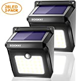 Solar 28 LED Motion Sensor Lights Outdoor, ZOOKKI Wireless Waterproof Solar Powered Motion Sensor Security Wall Lights for Outside Garden Gate Driveway Stairs Patio Yard Deck Pathway Garage 2 Pack