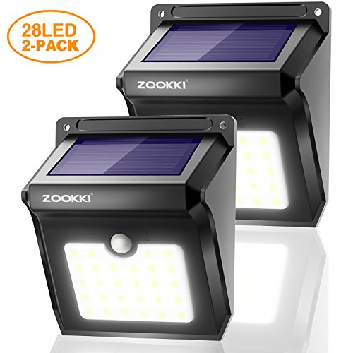 Solar Powered Light Fixture (ZOOKKI Outdoor Solar Lights 28 LED 2 Pack, Solar Powered Security Lights with Motion Sensor, Wireless Waterproof Wall Lights Outside for Garden Driveway Patio Yard Deck Pathway)