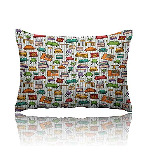 homehot Doodle Mini Pillowcase Various Home Interior Elements Armchair Table Mirror Design Elements Doodle Style Fun Pillowcase 14