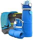 how much water should i drink - Collapsible Water Bottle + Cooling Towel, ELV 750ml (Reusable Foldable Silicone) Travel Bottle (Vacuum Sealed) Gym Fitness Training Bottle (Non-BPA / Non-Toxic) Sports Bottle (Blue / Blue)