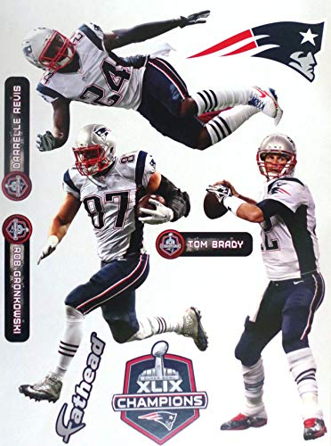 """FATHEAD New England Patriots Super Bowl Champs Team Set 3 Players 10"""" INCH Each Official NFL Vinyl Wall Graphics - Brady, Gronk, Revis"""