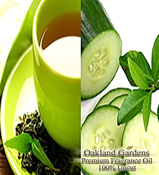 BULK Fragrance Oil - GREEN TEA & CUCUMBER Fragrance Oil - Garden fresh cucumber blends with natural green tea to create a light and refreshing, therapeutic scent - By Oakland Gardens (030 mL - 1.0 fl oz Bottle)