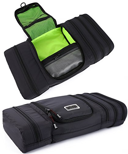Pro Packing Cubes Travel Toiletry Bag - Packs Flat To Save Space - Waterproof Hanging Toiletries Kit For Men and Women (Large, Graphite-Lime) ()