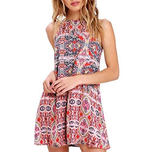 gaddrt Mode Damen Kleidung Damenbekleidung Oberteile Sommer Boho Mini Maxi Kleid Damen Halfter Casual Beach Party Shirt Rot wyqcDHK