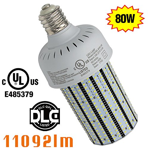 250w Mercury Vapor Bulb (NGTlight 250Watt Mercury Vapor Replacement 80W LED Corn Bulb Wall Pack Street Light Retrofit E39 Mogul Base 6000K(Daylight) AC100-277V)