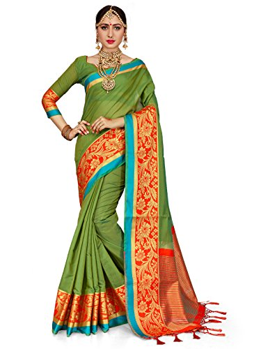 Women Cotton Silk Woven Saree l Indian Wedding Wear Sari Unstitched Blouse (Olive Green) ()