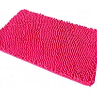 Ustide Microfiber Hot Pink Chenille Rugs Non Slip Bathroom Rug Shag Doormat Plush Toilet Rug 15.7 by 23.6 Inch