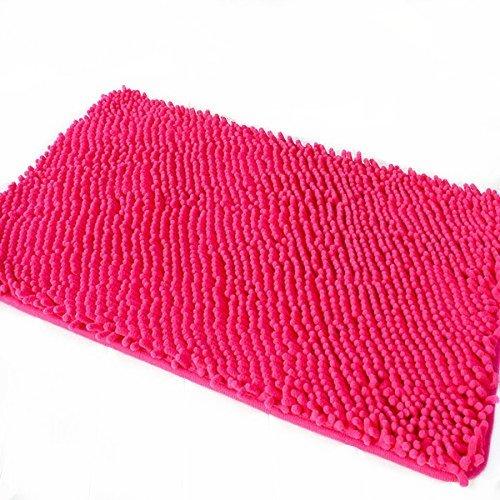 Ustide Microfiber Hot Pink Chenille Rugs Non Slip Bathroom Rug Shag Doormat Plush Toilet Rug 15.7 by 23.6 Inch