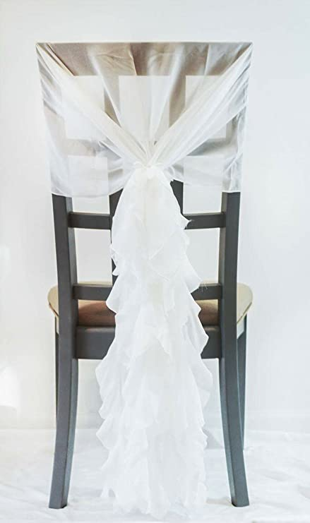 Amazon white chair sash with ruffles big 3d organza ruffles white chair sash with ruffles big 3d organza ruffles wedding and event decorations junglespirit Images