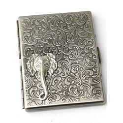 Steampunk Metal ELEPHANT FACE Cigarette Case Wallet Large Card Case