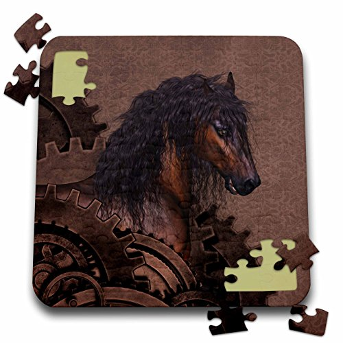 3dRose Simone Gatterwe Designs Animal – A awesome brown horse with a steampunk background – 10×10 Inch Puzzle (pzl_201051_2)