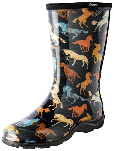 Sloggers Women's Waterproof Rain and Garden Boot with Comfort Insole, Horse Spirit Black, Size 9, Style 5018HSBK09