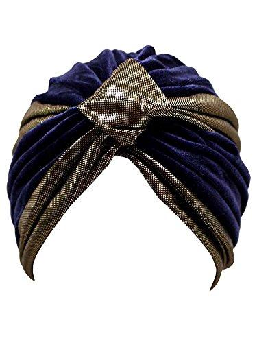 Navy Blue & Gold Velour Fashion Turban Head Wrap -
