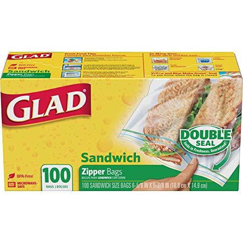 Glad Zipper Food Storage Sandwich Bags - 100 Count, 12 Boxes/Case (60062)