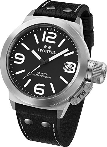 TW Steel Men's TW2 Canteen Black Leather Black Dial Watch