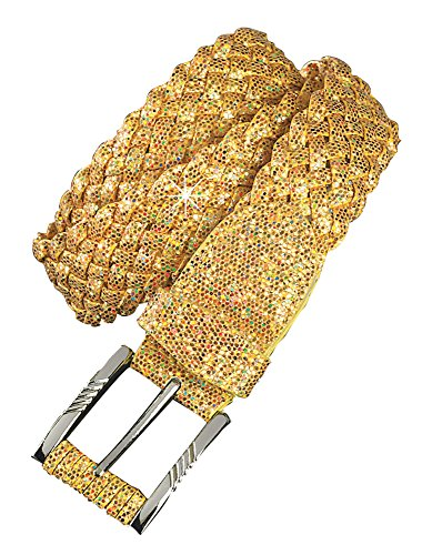 Woven Belt - Wide Braided Sparkly Fashion Accessory (Gold, 3X-Large)