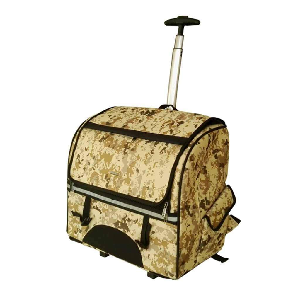 ACLBB Detachable pet lever backpack, camouflage travel stand roller bag, suitable for medium kitten, dog