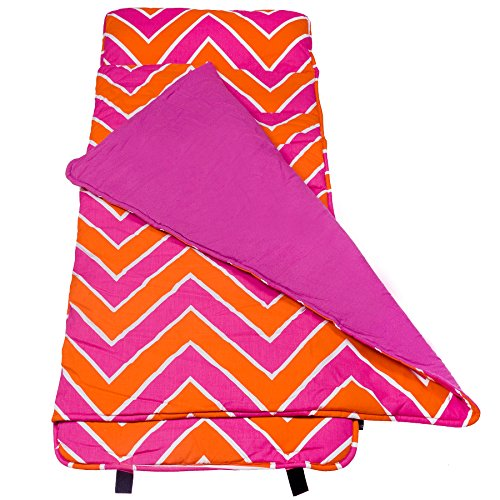 Original Nap Mat, Wildkin Children's Original Nap Mat with Built in Blanket and Pillowcase, Pillow Insert Included, Premium Cotton and Microfiber Blend, Children Ages 3-7 years – Zigzag Pink (Zag Plush Zig)