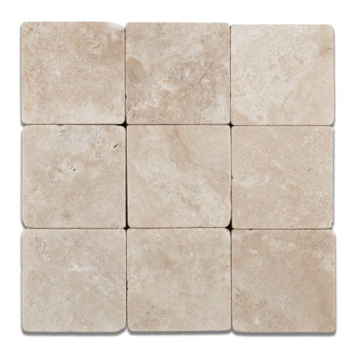 Durango Cream (Paredon) Travertine 4 X 4 Field Tile, Tumbled - 4-pcs. Sample Set ()