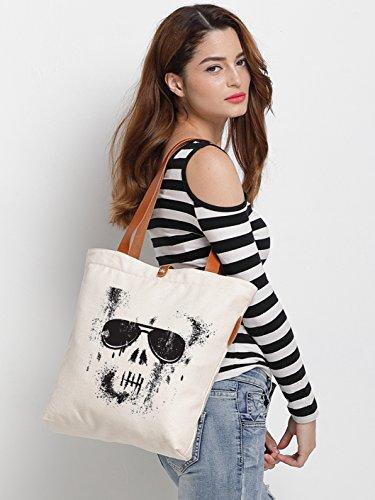 IN.RHAN Women's Skull Glass Graphic Canvas Tote Bag Casual Shoulder Bag Handbag