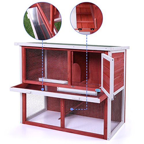 Sandinrayli 36quot Red Wooden Chicken Coop Hen House Rabbit Wood Hutch Poultry Cage Waterproof