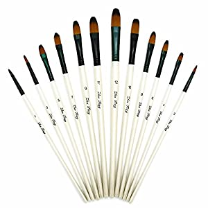 Paint Brushes Set - 24 PCS - Nylon Bristles with Plane Wooden Handle, Professional Artist Painting Supplies, Suitable for Watercolor, Oil, Acrylic Painting