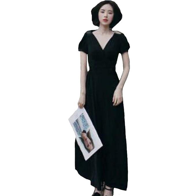 Mujer Noche Negro Vestir Profundo Cuello en V Cintura Cinturón División Largo Vestidos 80Store (Mangas