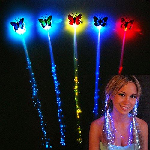 10 pcs Pince à Cheveux Brillants Led Papillon Cheveux tressés Carnaval LED Lumière Cheveux Barrette pour Halloween, Noël, Mariages, Nouvel An (Papillon)