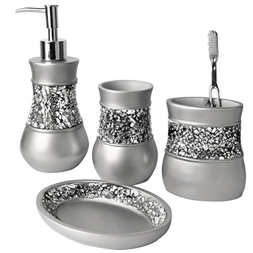 bathroom accessories sets silver. Creative Scents Brushed Nickel Bathroom Accessories Set, 4 Piece Bath Ensemble, Set Collection Features Soap Dispenser Pump, Toothbrush Holder, Sets Silver