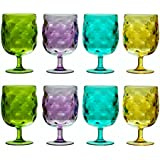 QG Set of 8 Colorful Stackable 12 oz Acrylic Plastic Drinking Glass Tumbler Set in 4 Assorted Colors