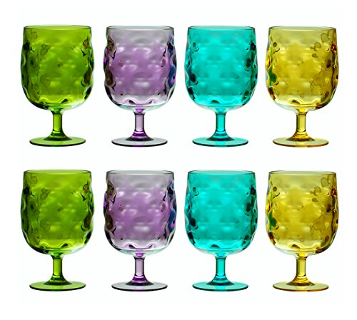 QG Set of 8 Colorful Stackable 12 oz Acrylic Plastic Drinking Glass Tumbler Set in 4 Assorted Colors ()