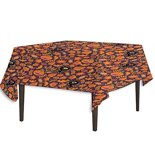kangkaishi Vintage Halloween Printed Tablecloth Halloween Themed Elements on a Purple Background Scary Mosters Desktop Protection pad W50.4 x L50.4 Inch Dark Purple Orange ()