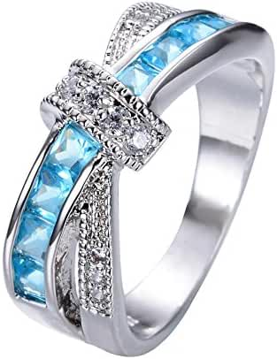 Rongxing Jewelry Cross Blue Aquamarine Diamond Women's White Gold Cocktail Ring Size 6-10