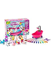 Crayola Scribble Scrubbies, Mega Pack, Toy Pet Playset,  Kids, Includes 12 Washable Pet Figurines, 12 Washable Markers, 2 Scrub Brushes, Scrubbie Tub, Washimals (Collect Them All)
