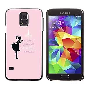 LECELL--Funda protectora / Cubierta / Piel For Samsung Galaxy S5 SM-G900 -- Glitter Girls Pink Black Text Minimalist --