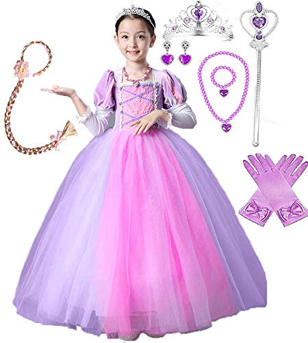 Girls Rapunzel Deluxe Princess Party Dress Costume (5-6, Style 6) -