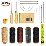 Arts & Crafts : SIMPZIA 18 Pieces Leather Craft Tools with Hand Sewing Needles Drilling Awl Waxed Thread and Thimble for Leather Upholstery Carpet Canvas DIY Sewing