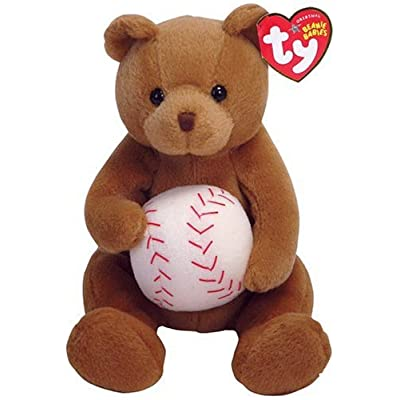 Ty Beanie Baby Shortstop Bear Baseball Sports Teddy w Ball: Toys & Games
