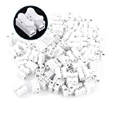 Wire Connector, Asixx 100pcs Quick Terminal Spring Clamp Terminal10A 220V 2 Pin Push Quick Wire Cable Connector White Wiring Terminal(100Pcs)