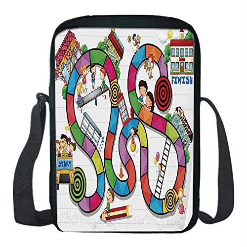 Board Game Print Kids Crossbody Messenger Bag,Game on Notebook Paper Kids and Building School Route Fun Challenge Enjoyment Decorative for Boys,9''H x 6''L x 2''W