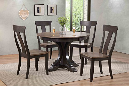 "Iconic Furniture 5 Piece 45"" x 45"" x 63"" Deco Panel Back Dining Set, Antique Grey/Black, 63"
